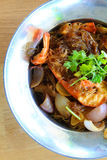 Shrimp vermicelli take shot from top Stock Photography