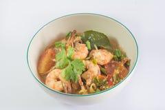 Shrimp vermicelli white background Stock Photos