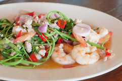 Shrimp and water minosa salad, spicy thai food Stock Photo