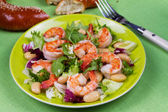 Shrimp and white bean salad. Royalty Free Stock Photo
