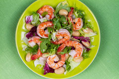 Shrimp and white bean salad. View from above, top studio shot. Stock Photography