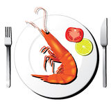 Shrimp on white dish with fork and knife  Stock Images