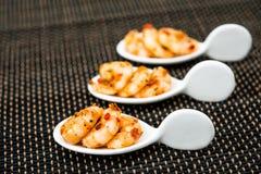 Shrimp with white wine sauce Stock Image
