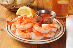 Shrimp wiht cocktail sauce Royalty Free Stock Photo