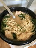 Shrimp wonton soup. Instant shrimp wonton soup with miso broth and greens Royalty Free Stock Images