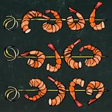 Shrimp on Wood Stick, Prawn Kebab, Seafood BBQ, Canapes. Isolated On a Chalkboard Background Doodle Cartoon Vintage Hand Stock Image