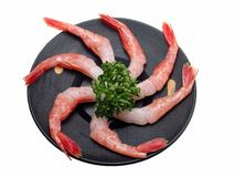 Shrimp on a wooden plate-clipping path Royalty Free Stock Photography