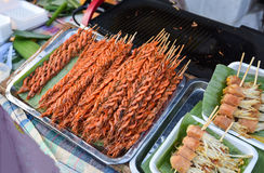 Shrimp wooden plug grill Stock Images