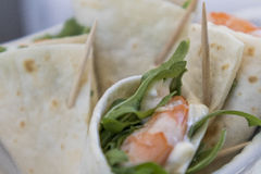 Shrimp wrap with lettuce and mayonnaise Royalty Free Stock Photography