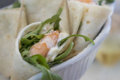 Shrimp wrap with lettuce and mayonnaise. Stock Photos