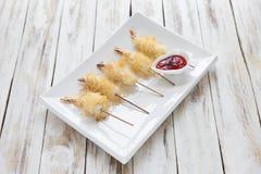 Shrimp wrapped in dough Kataifi called also Kanafeh, Kadaif. Stock Photos