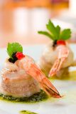 Shrimp wrapped in scallop Stock Photography