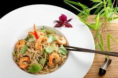 Shrimp Yakisoba, noodles with prawn, Royalty Free Stock Image