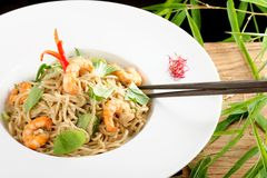 Shrimp Yakisoba, noodles with prawn, Royalty Free Stock Photos