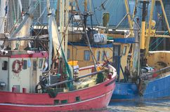 Shrimper. Traditional shrimper boats anchoring in the North Sea Royalty Free Stock Photography