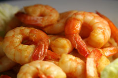Shrimps. Delicious seafood, fried with chili and honey stock image