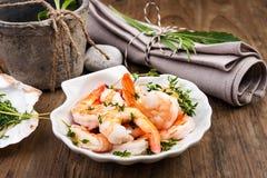 Shrimps appetizer Stock Images