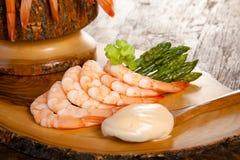 Shrimps and asparagus Royalty Free Stock Photos