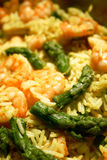 Shrimps, asparagus and rice Stock Photography