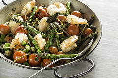 Shrimps and Asparagus stir-fried Royalty Free Stock Images