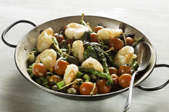 Shrimps and Asparagus stir-fried Stock Photo