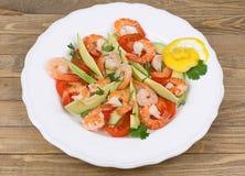 Shrimps, Avocado and Tomatoes. Salad Stock Photos