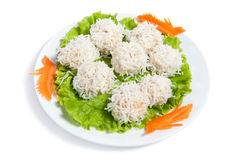Shrimps ball on a plate Stock Photography