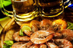 Shrimps and beer royalty free stock photography