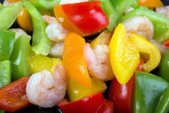 Shrimps and bell peppers Stock Photography