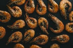 Shrimps on black background. Delicious seafood appetizer served boiled or grilled with spices. Close up. Top view Royalty Free Stock Photos