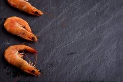Shrimps on black slate Royalty Free Stock Images