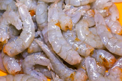 Shrimps. Bodies peeled shrimp for cooking royalty free stock image
