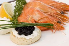 Shrimps and caviar Royalty Free Stock Image