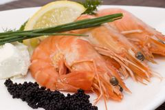 Shrimps and caviar Royalty Free Stock Photography