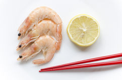 Shrimps and chopsticks Royalty Free Stock Photo