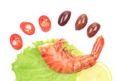 Shrimps close up on white. Stock Photography