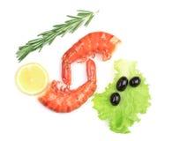 Shrimps close up on white. Royalty Free Stock Image