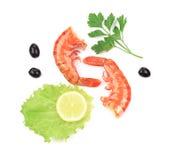 Shrimps close up on white. Stock Photos