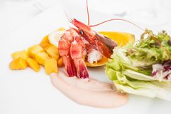 Shrimps cocktail with fresh mango salad and creamy dressing stock images
