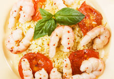 Shrimps with cooked rice Royalty Free Stock Image