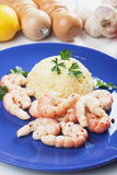 Shrimps with cooked rice Royalty Free Stock Photo