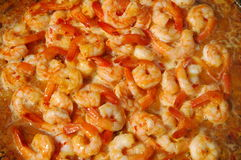 Shrimps cooking in pan. Shrimpas cooking in pan during BBQ stock images