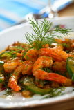 Shrimps with cucumber Stock Photos
