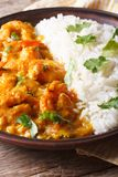 Shrimps in curry sauce with rice and cilantro vertical Royalty Free Stock Photos