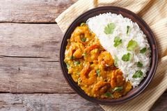 Shrimps Curry With Rice On A Plate. Horizontal View From Above Stock Photos