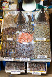 Shrimps of different sizes at fish market in Seoul Stock Photo