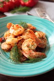 Shrimps with dill Stock Photography