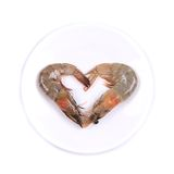 Shrimps in form of heart. Stock Photo