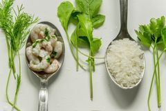 Shrimps with fresh herbs and rice Royalty Free Stock Images