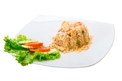 Shrimps with fried rice Stock Photo